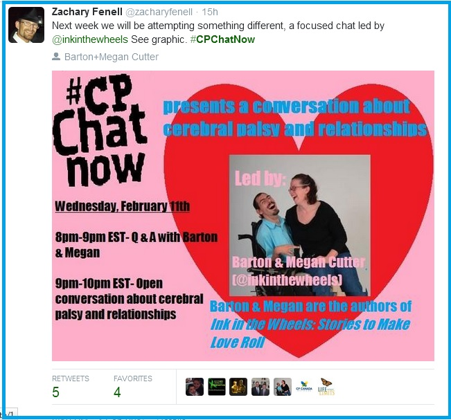 CPChatNow Focused Chat Feb. 11th- Cerebral palsy and relationships