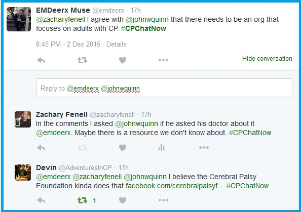 #CPChatNow talks about resources for aging with cerebral palsy.