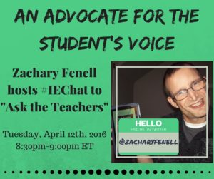 The graphic I used to promote the #IEchat I guest hosted.