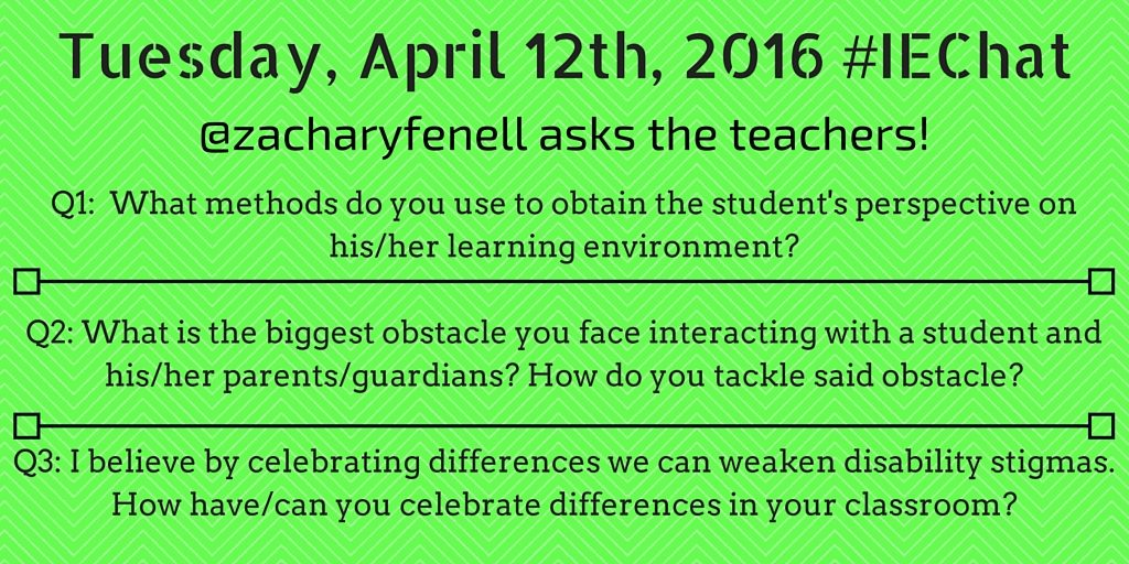 Questions asked during the April 12th #iechat