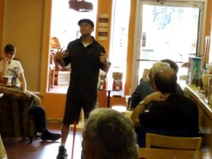 Coffee Phix Cafe's Author-Author July 2016 event started Zachary on his mission as a cerebral palsy/disability awareness speaker.