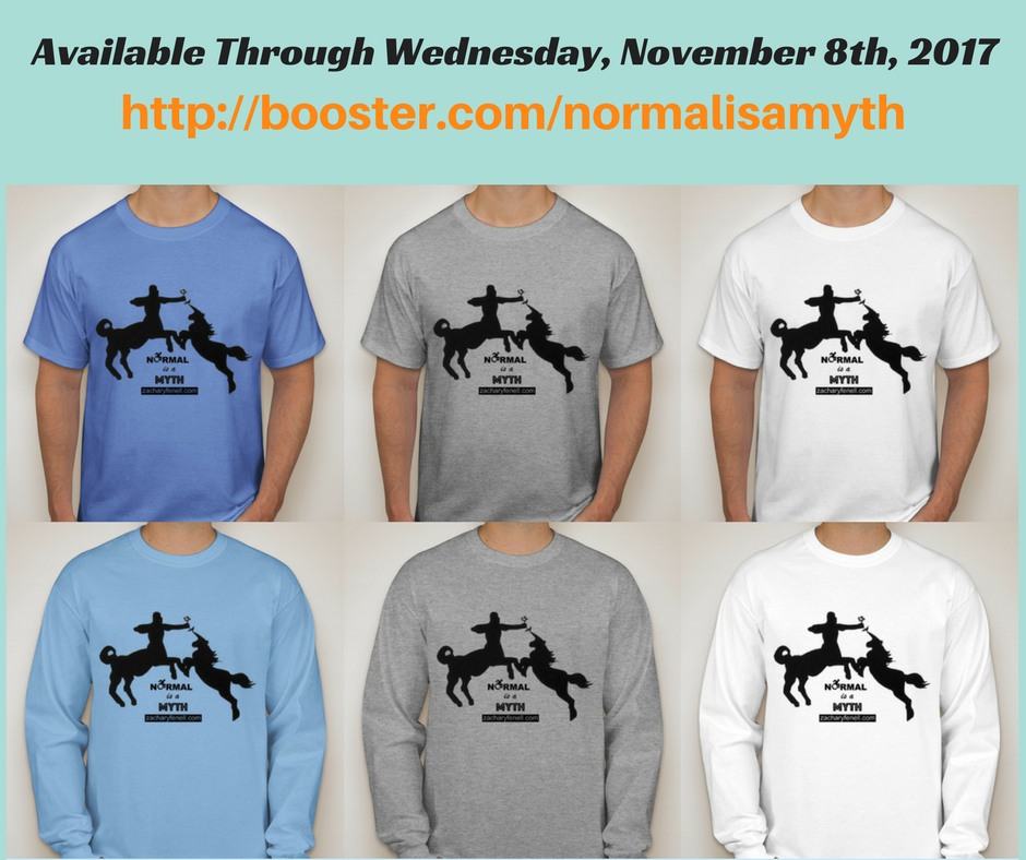 """The """"Normal is a Myth"""" shirt is available in both short sleeve (Carolina blue, light steel, white) and long sleeve (light blue, light steel, white)."""